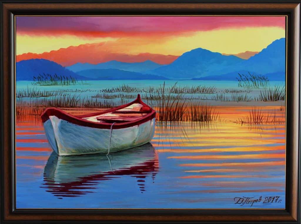 """""""Езерото на забравата"""" - маслени бои на платно 70x50 см."""
