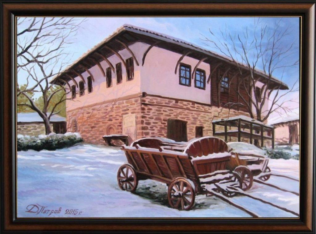 """""""Зимно утро"""" - маслени бои на платно 50х70 см. - (продадена)"""