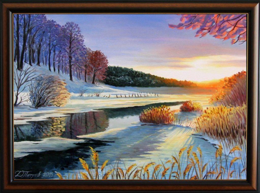 """""""Ледена соната"""" - маслени бои на платно 50х70 см. - (продадена)"""