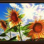 """""""Скритото послание"""" - маслени бои на платно 70 x 50 см. - картини със слънчогледи"""