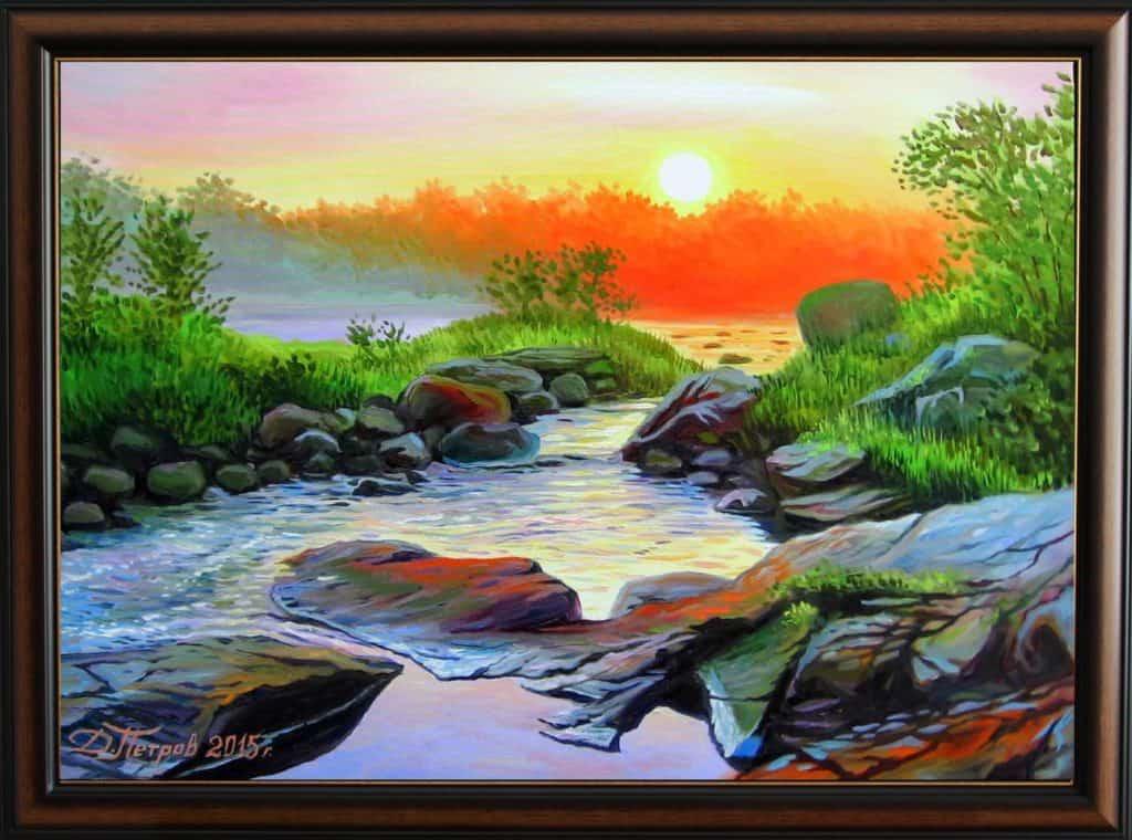 """""""Реката на желанията"""" - маслени бои на платно 50х70 см. - (продадена)"""