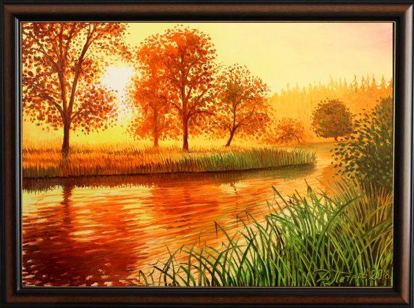 """""""Омагьосаната река на желанията"""" - оригинална картина с маслени бои на платно 50х70 см. - цена 440 лева"""