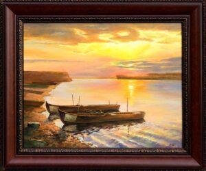 Дунавски залез - Тутракан - картина - 30 х 40 см.