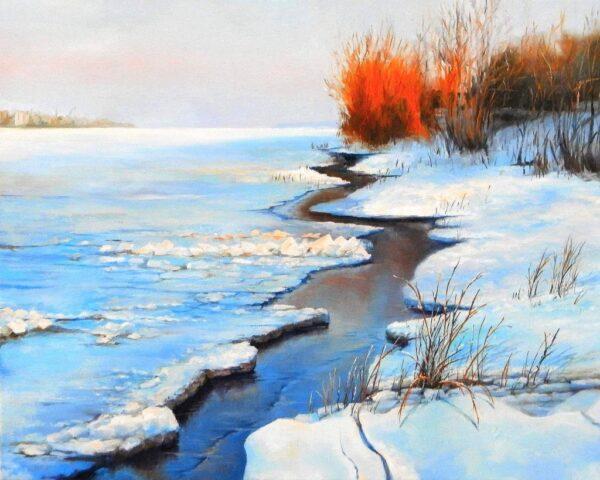 Замръзналия Дунав - картина - 40 х 50 см.