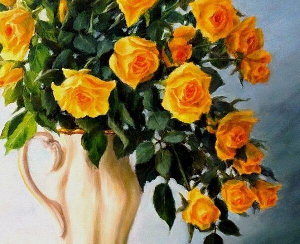 Слънчеви рози - картина - детайл
