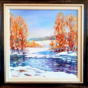 Край реката през зимата - картина