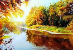 Златни лъчи - оригинална картина с маслени бои 50х70