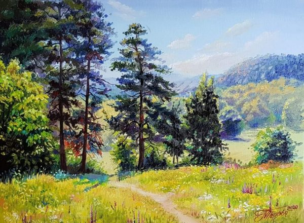 Слънчев ден - оригинална картина с маслени бои 30х40 см - худ. Магдалена Петкова