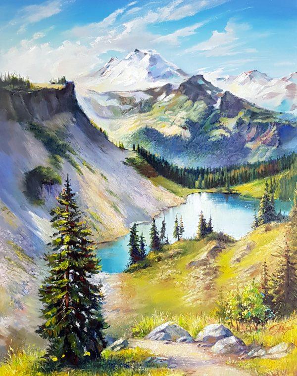 Там високо - оригинална картина с маслени бои 90х70 см - худ. Магдалена Петкова